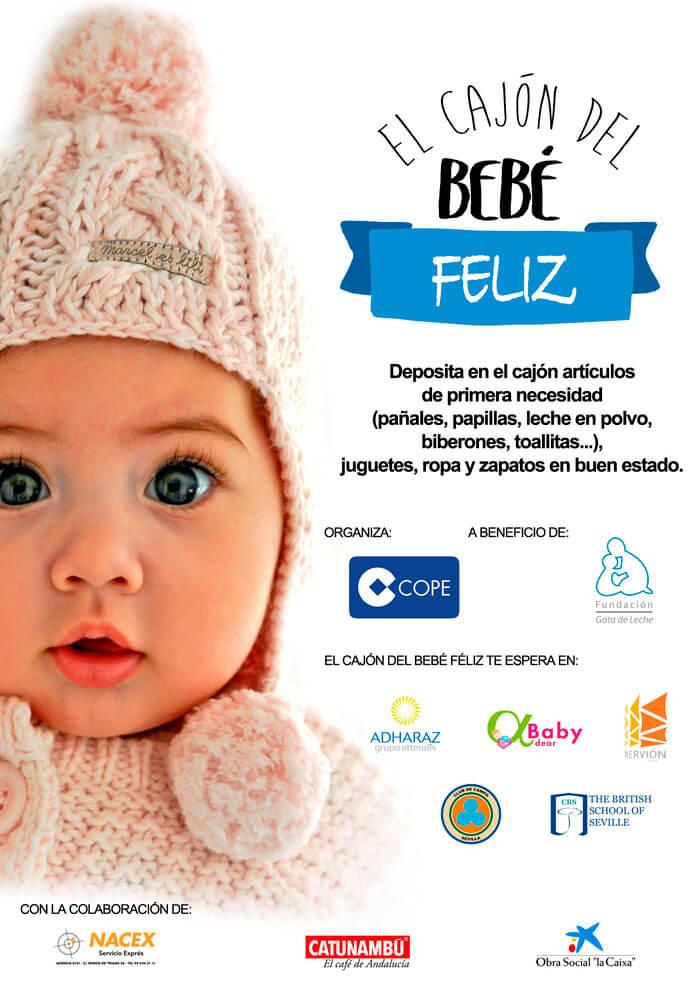 cartel cajon del bebe feliz